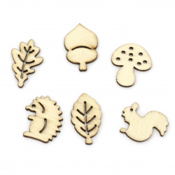 Wooden cabochons  19 ~27.5x15~25x2.5 mm Assorted shapes and sizes in natural wood color - 10 pieces