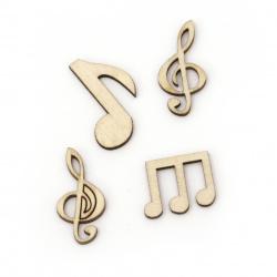 Lemn din cabochon muzicale note 20 ~ 30x14 ~ 21x3 mm forme și dimensiuni Asortate culoare lemn -10 bucăți