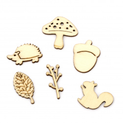 Wooden cabochons forest collection 18~31x12.5~30x2.5 mm mixed shapes and sizes in natural color - 10 pieces