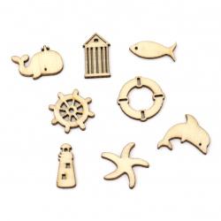 Lemn din cabochon mare 10 ~ 24,5x9,5 ~ 26x2,5 mm Forme și dimensiuni Asortate culoare lemn -10 bucăți