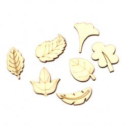 Lemn din cabochon  frunze 24 ~ 36x17 ~ 37x2,7 mm forme și dimensiuni asortate culoare lemn -10 bucăți