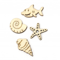 Wooden cabochons ocean theme 20~34x18.5~25.5x2.5 mm assorted shapes and sizes wood color -10 pieces