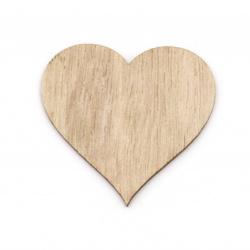Inimă din lemn fără gaură 49 ~ 49,5x52x2,5 mm culoare cabochon culoare lemn -5 bucăți