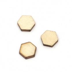 Lemn hexagonal fără gaură 8,5x9,5x2,5 mm tip cabochon culoare lemn -10 bucăți