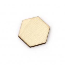 Lemn hexagonal fără gaură 17x19,5x2,5 mm tip cabochon lemn de culoare -10 bucăți