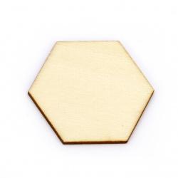 Lemn hexagonal fără gaură 43x49,5x2,5 mm tip cabochon lemn lemn -5 bucăți