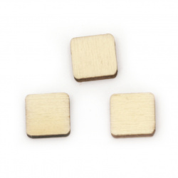 Wood square without hole 10x10x2.5 mm cabochon type, natural wood color -10 pieces