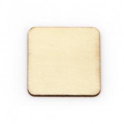 Lemn pătrat fără gaură 34x34x2,5 mm culoare cabochon culoare lemn -10 bucăți
