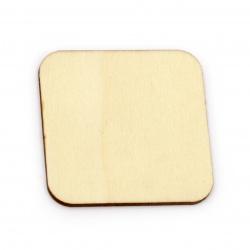 Lemn pătrat fără gaură 50x50x2,5 mm culoare cabochon culoare lemn -5 bucăți