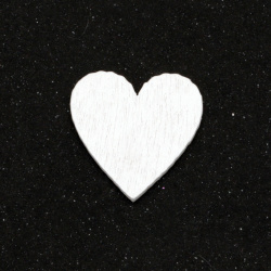 Inimă  din lemn fără gaură 19,5 ~ 20x19,5 ~ 20x1,5 mm tip cabochon culoare alb -10 bucăți
