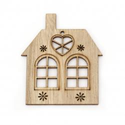 Casă pandantiv din lemn gaură 65,5x78x2 mm gaură 3 mm culoare lemn -4 bucăți