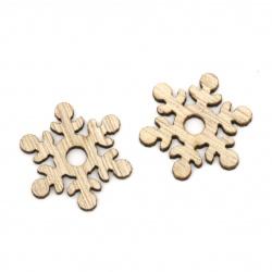 Дървени снежинки 26x2 мм дупка 5 мм цвят дърво -10 броя