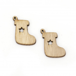 Wooden pendant Christmas sock 30x18x2.5 mm hole 1 mm natural wood color  -10 pieces