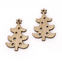 Χριστουγεννιάτικο ξύλινο κρεμαστό δέντρο  30,5x21x2,5 mm τρύπα 1 mm  ξύλο -10 τεμάχια