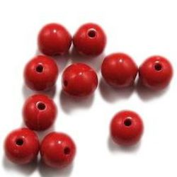 Acrylic round solid beads for jewelry making 12x11 mm hole 2 mm red - 50 grams ~ 50 pieces