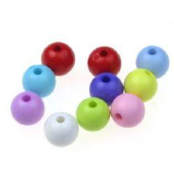 Мънисто плътно топче 8 мм дупка 2 мм МИКС - 50 грама ~ 180 броя