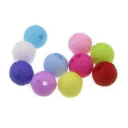 Мънисто плътно топче грапаво 8 мм дупка 1.5 мм МИКС - 50 грама ~ 170 броя