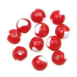 Мънисто двуцветно топче със сърце 8 мм дупка 2 мм бяло и червено -20 грама ~ 70 броя