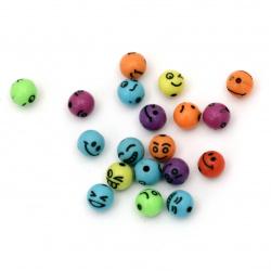Мънисто топче емотиконки 8 мм дупка 2 мм МИКС -50 грама ±185 броя