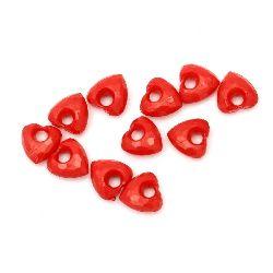 Pandantiv  solida inima 13x13x7 mm gaură 4 mm fațetata roșu -50 grame ~ 90 buc
