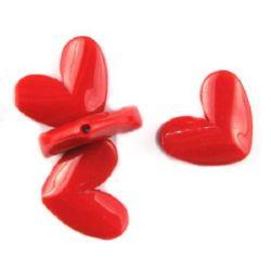 Inima solida 26,5x33,5x8,5 mm gaura 2 mm roșu solida -50 g ~ 11 buc
