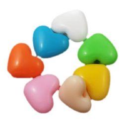 Inima 19,5x23,5x10,5 mm gaura 2,5 mm culoare solida -50 g ~ 17 buc