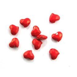 Сърце плътно 16x19x9 мм дупка 2 мм многостен червено -50 гр
