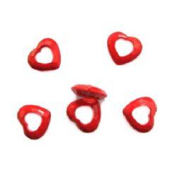Margele solida inima poliedru 24x26x6 mm gaura 2 mm roșu -50 grame ~ 32 buc