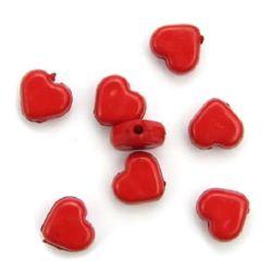 Мънисто плътно сърце 8х8х4 мм дупка 1 мм червено -50 грама ~220 броя