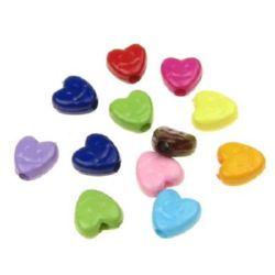 Bead solid heart smile 7,5x7,5x4 mm gaură 1,5 mm mix -50 grame ~ 410 bucăți