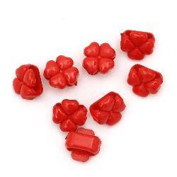Мънисто плътно детелина 14x9 мм дупка 11 мм червено -50 грама ~ 75 броя