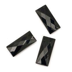 Мънисто плътно правоъгълник 35x15x9 мм дупка 1.5 мм фасетирано черно -50 грама ~ 14 броя