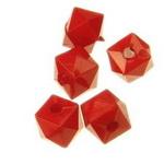 Мънисто плътно камъче 6x6 мм дупка 1 мм червено -50 грама ~417 броя