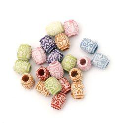 Στρογγυλές χάντρες τύπου βαρέλι 8x7 mm τρύπα 3 mm μιξ χρώμα -50 γραμμάρια ~ 230 τεμάχια
