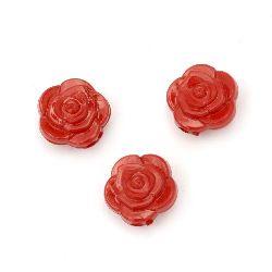 Χάντρα οπακ πλαστική  τριαντάφυλλο 16x11 mm τρύπα 2 mm κόκκινο -50 γραμμάρια ~ 70 τεμάχια