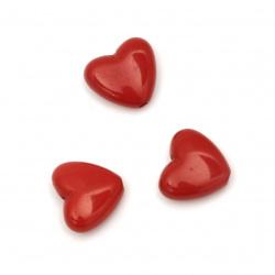 Мънисто плътно сърце 15x13x6.5 мм дупка 1.5 мм цвят червен -50 грама ~60 броя