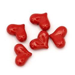 Мънисто плътно сърце 23x17x9 мм дупка 1.5 мм червено -50 грама ~ 24 броя