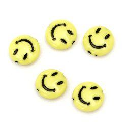 Мънисто плътно паричка усмивка 13.5x5 мм дупка 1 мм жълто -50 грама ~ 85 броя