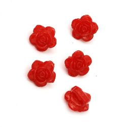 Копче плътно роза 14x9 мм две дупки x 1.5 мм червено -50 грама ~ 85 броя