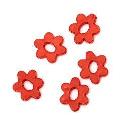 Margele solida floare  20x17x3,5 mm gaură 1 mm roșu -50 grame ~ 65 bucăți