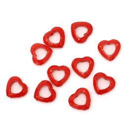 Margele solidă inimă 18x19x6,5 mm gaură 1 mm roșu -50 grame ~ 60 bucăți