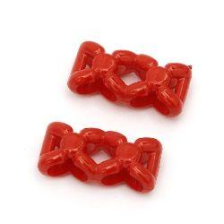 Мънисто плътно фигурка 21x10x6 мм две дупки 3x7 мм червено -50 грама ~90 броя