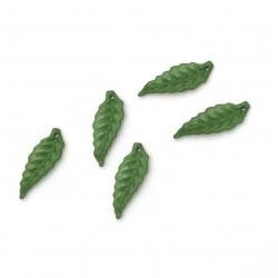 Висулка плътна листо 26х10 мм дупка 1 мм цвят зелен -50 грама ~220 броя