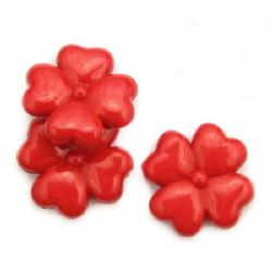 Margele gaură de 27x6 mm 2 mm roșu -50 grame