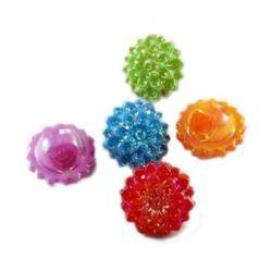 Κουμπί πλαστικό λουλούδι 16x16x10 mm τρύπα 3 mm MIX ιριδίζον  -20 γραμμάρια ~ 23 τεμάχια