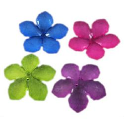 Plastic perl flower button for sewing, scrapbooking, DIY home decoration accessories 38x7 mm MIX - 5 pieces ~ 20 grams
