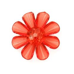 Plastic flower button for sewing, scrapbooking, DIY home decoration accessories 33x33x11 mm hole 3 mm red - 50 grams ~ 28 pieces