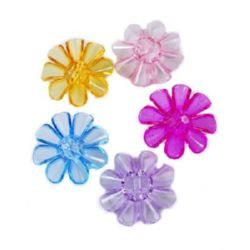 Plastic pearl flower button for sewing, scrapbooking, DIY home decoration accessories 33x33x11 mm hole 3 mm MIX - 50 grams ~ 28 pieces