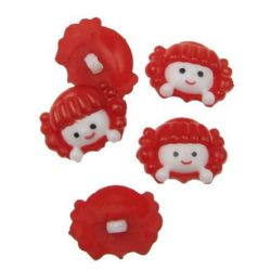 Plastic button for sewing 22.5x17 hole 2 mm red and white -10 pieces