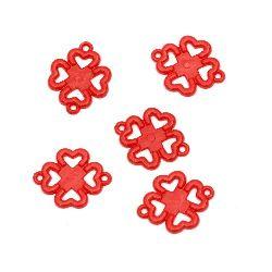 Trifoi dens  mărgele 30x23x2 mm două găuri x 1,5 mm roșu -50 grame ~ 70 bucăți